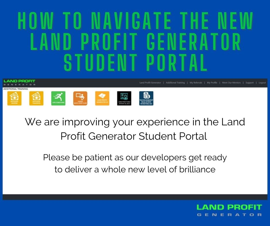 How to navigate the new Land Profit Generator Student Protal